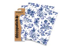 Papier Décopatch Roses bleues - 3 feuilles N°499 - Papiers Décopatch – 10doigts.fr