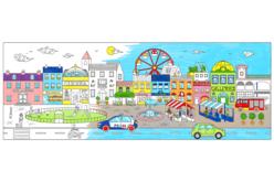 Fresque géante à colorier - La ville - Support pré-dessiné – 10doigts.fr