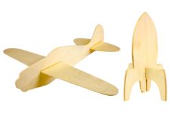 Fusée et avion en bois - Jeux et Jouets en bois – 10doigts.fr