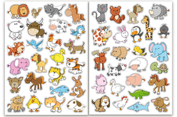 Gommettes animaux rigolos 1 - 2 planches - Gommettes Animaux – 10doigts.fr