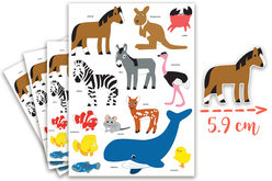 Maxi Gommettes animaux 2 - 4 Planches - Gommettes Animaux – 10doigts.fr