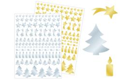 Gommettes de fêtes métallisées or et argent - 2 planches - Gommettes et stickers Noël – 10doigts.fr