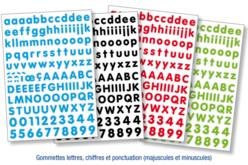 Gommettes lettres minuscules et majuscules, chiffres et ponctuation