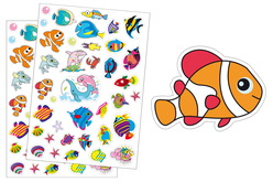 Gommettes poissons - 2 planches - Gommettes Animaux – 10doigts.fr