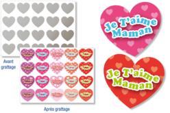 """Cœurs """"Message d'amour"""" à gratter - 40 stickers - Stickers, gommettes coeurs – 10doigts.fr - 2"""