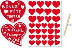 Gommettes stickers coeurs rouges à gratter