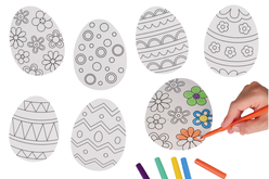 Grands œufs de Pâques à colorier - 6 pièces