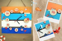 """Motifs """"La mer 1"""" en bois décoré - Set de 8 - Motifs peints – 10doigts.fr - 2"""