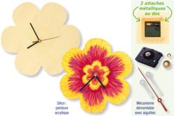 Horloge fleur (23,5 cm) en bois avec mécanisme à quartz