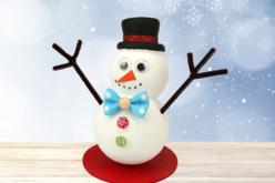 Bonhomme de neige + socle - Lot de 10 - Kits activités Noël – 10doigts.fr - 2