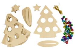 Sapins à grelots à fabriquer - Lot de 6 - Supports de Noël en bois – 10doigts.fr - 2