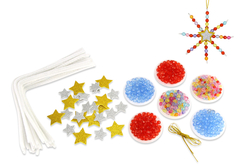Kit fabrication suspensions Noël en perles - 12 flocons - Activités de Noël en kit – 10doigts.fr - 2