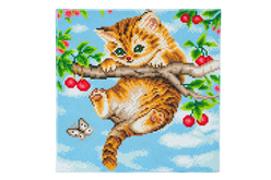 Kit tableau broderie diamant Chaton - 30 x 30 cm - Broderie Diamant – 10doigts.fr