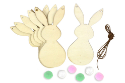 Kit guirlande 6 lapins en bois - Kits activités Pâques – 10doigts.fr - 2
