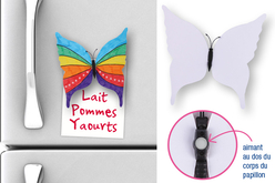 Magnets papillon - Lot de 6 - Support blanc – 10doigts.fr