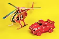 Hélicoptère 3D en bois naturel à monter - Divers – 10doigts.fr - 2