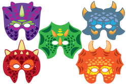 Masques dinosaures + gommettes - 5 masques - Masques – 10doigts.fr - 2