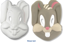 Masque lapin en papier comprimé recyclé blanc avec cordon élastique