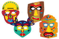 Masques TIKI + gommettes - 4 masques - Masques – 10doigts.fr - 2