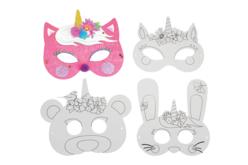 Masques licorne à décorer - Set de 4 - Mardi gras, carnaval – 10doigts.fr - 2