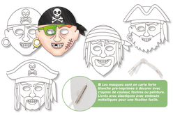 Masques pirates à décorer - Set de 4 - Mardi gras, carnaval – 10doigts.fr - 2