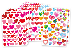 Maxi lot 534 Gommettes coeurs assorties - Stickers, gommettes coeurs – 10doigts.fr