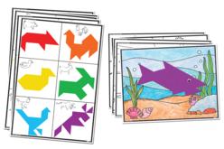 Formes en papier pour tangram - Set de 700 - Papiers couleurs – 10doigts.fr - 2