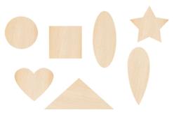 Motifs fantaisie en bois - 70 formes assorties - Motifs brut – 10doigts.fr