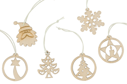 Coffret de motifs de Noël en bois naturel - Set de 18 - Suspension Fantaisie – 10doigts.fr - 2