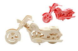 Moto 3D en bois naturel à monter - Maquettes en bois – 10doigts.fr - 2
