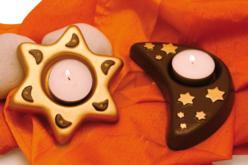 Moule 2 bougeoirs : lune et étoile - Moules pour plâtre, savon, béton ... – 10doigts.fr - 2