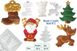Moule 4 motifs Noël - Moules pour plâtre, savon, béton ... – 10doigts.fr - 2