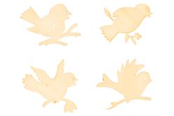 Oiseaux en bois naturel assortis - Set de 8 - Motifs bruts – 10doigts.fr - 2