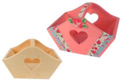 Panier découpe cœur en bois - Corbeilles et paniers – 10doigts.fr
