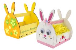 Panier lapin en bois à monter - Supports de Pâques à décorer – 10doigts.fr - 2