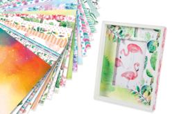 """Papiers épais motifs """"Aquarelle""""  24 x 34 cm - 20 feuilles - Papiers motifs fleurs et nature – 10doigts.fr"""