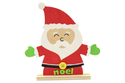 Père Noël en bois avec socle - Décorations de Noël en bois – 10doigts.fr - 2