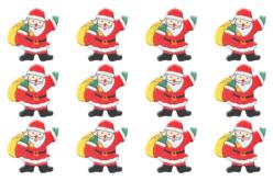 Pères Noël en bois décoré - Set de 12 - Motifs peints – 10doigts.fr - 2