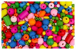 Perles en bois couleurs et formes assorties - Perles en bois – 10doigts.fr