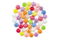 Perles rondes bayadères - 62 perles - Perles acrylique – 10doigts.fr - 2