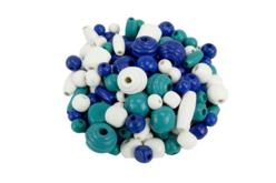 Perles en bois en camaïeu de bleu - 110 perles - Perles en bois – 10doigts.fr