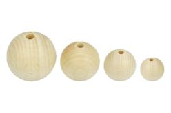 perles rondes en bois naturel