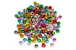 Perles métallisées à gros trou - 160 perles - Perles en plastique – 10doigts.fr - 2