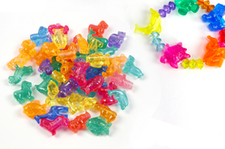 Perles animaux transparents - Environ 30 perles assorties - Perles enfant – 10doigts.fr