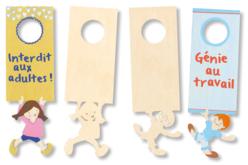 Plaque pour poignée de porte - Garçon ou fille - Plaques en bois – 10doigts.fr