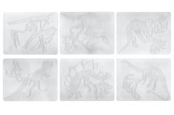 Plaques dessin relief squelettes de dinosaures - Set de 6 - Plaque relief – 10doigts.fr