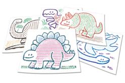 Plaques dessin relief dinosaures mignons - Set de 6 - Plaque relief – 10doigts.fr - 2