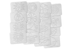 Plaques dessin relief fleurs - Set de 16 - Plaque relief – 10doigts.fr