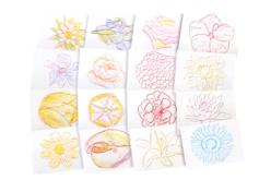 Plaques dessin relief fleurs - Set de 16 - Plaque relief – 10doigts.fr - 2