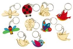 Porte-clés animaux en bois - Set de 5 - Porte-clefs en bois – 10doigts.fr